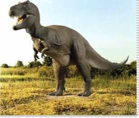 Close-up of a tyrannosaurus rex standing in a field