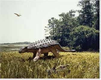 Ankylosaur walking in a field and a pteranodon flying in the sky